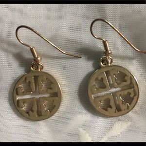Jewelry - Gold-Toned Disk-Shaped Earrings (Fish Hook)